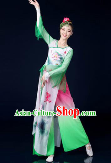 Chinese Traditional Classical Dance Lotus Dance Dress Umbrella Dance Stage Performance Costume for Women