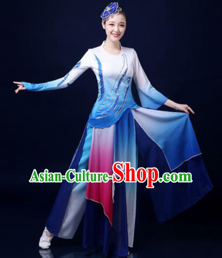 Traditional Chinese Folk Dance Jasmine Flower Blue Clothing Yangko Dance Fan Dance Costume for Women
