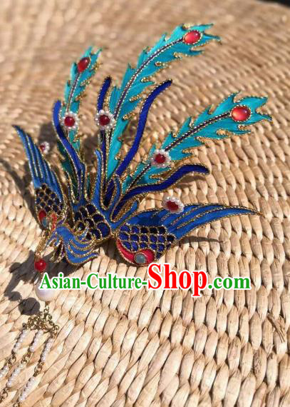 Chinese Traditional Hair Accessories Ancient Palace Handmade Hanfu Blue Phoenix Hairpins for Women