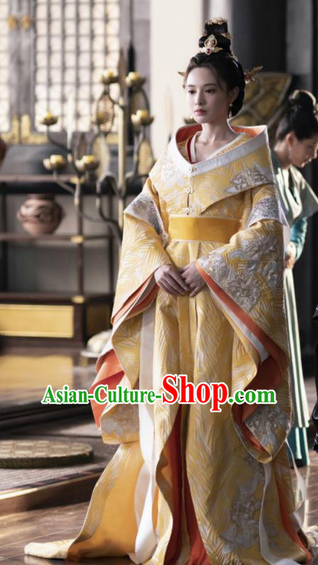 Chinese Ancient Drama Crown Princess Embroidered Replica Costume Tang Dynasty Palace Queen Hanfu Dress and Headpiece for Women