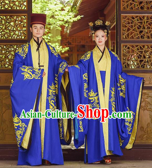 Traditional Chinese Wedding Historical Costumes Ancient Zhou Dynasty Bride and Bridegroom Clothing for Women for Men