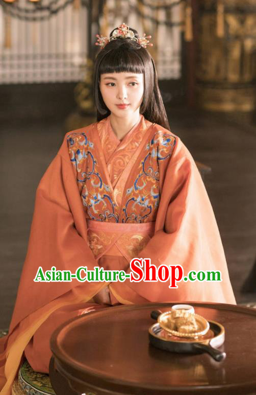 Chinese Ancient Drama Princess Embroidered Replica Costume Tang Dynasty Imperial Consort Hanfu Dress and Headpiece for Women
