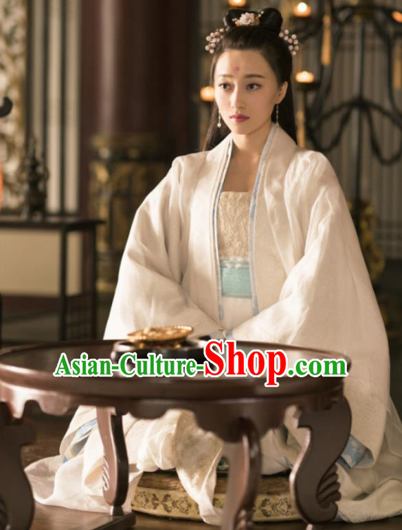 Chinese Ancient Drama Court Princess Embroidered Replica Costume Tang Dynasty Palace Lady Hanfu Dress and Headpiece for Women