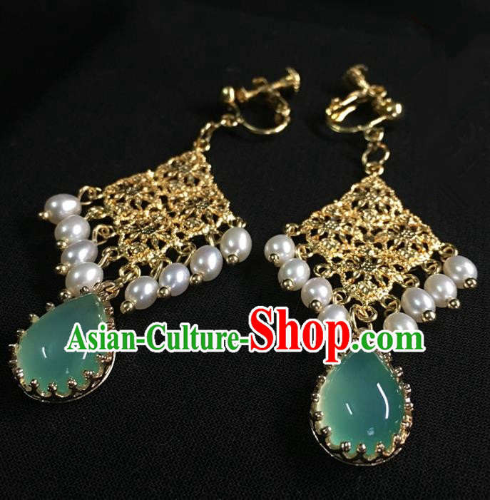 Traditional Chinese Hanfu Accessories Ancient Princess Pearls Green Agate Earrings for Women