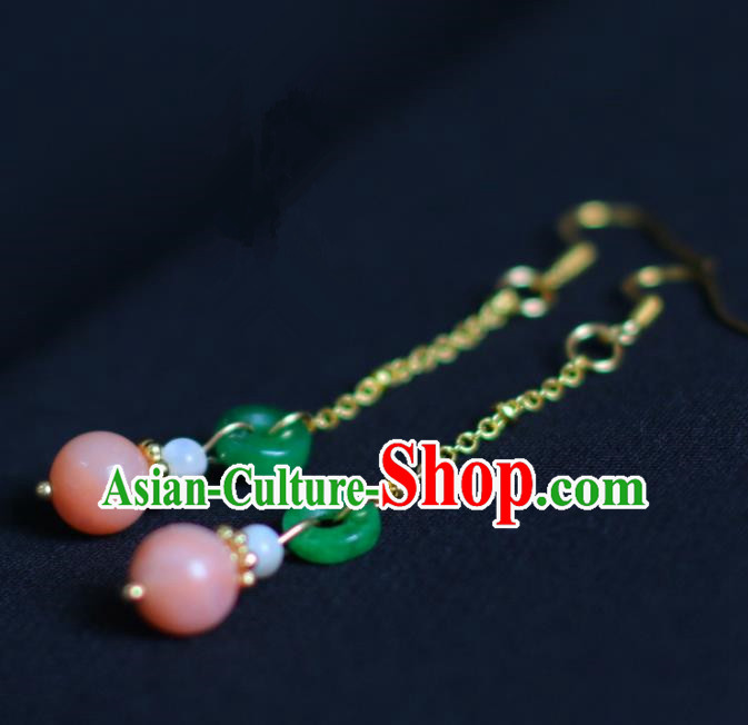 Traditional Chinese Hanfu Accessories Ancient Princess Jade Tassel Earrings for Women