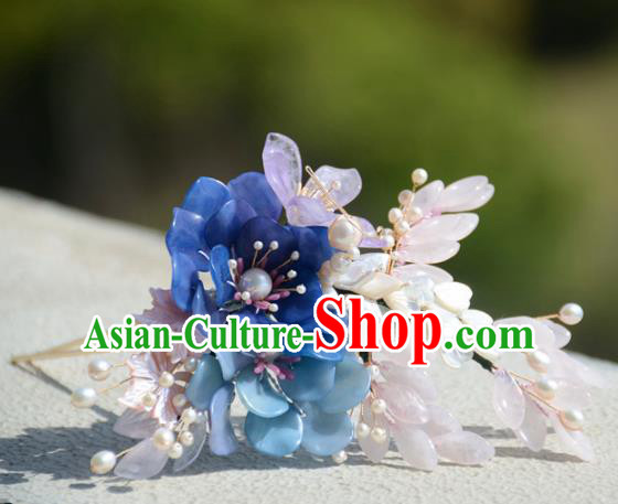 Traditional Chinese Hanfu Blue Flowers Hair Clip Hair Accessories Ancient Princess Hairpins for Women
