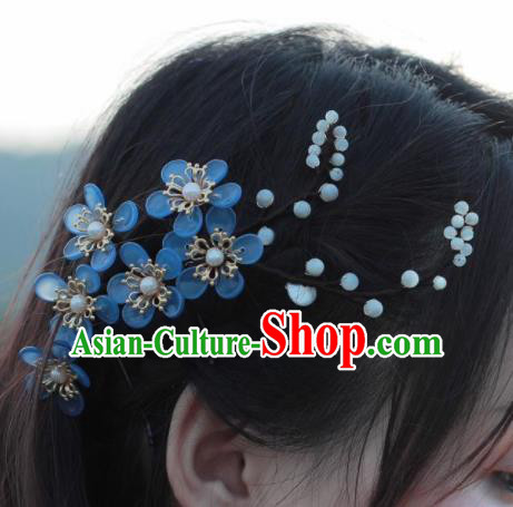 Traditional Chinese Hanfu Blue Flowers Hair Claw Hair Accessories Ancient Princess Hairpins for Women