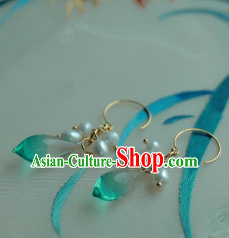 Traditional Chinese Hanfu Accessories Ancient Princess Coloured Glaze Pearl Earrings for Women