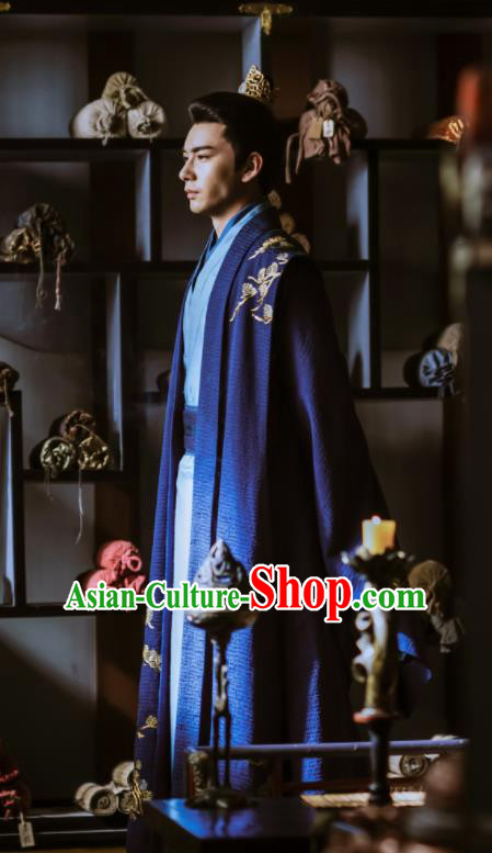 Chinese Ancient Drama Tang Dynasty Crown Prince Embroidered Historical Costume for Men