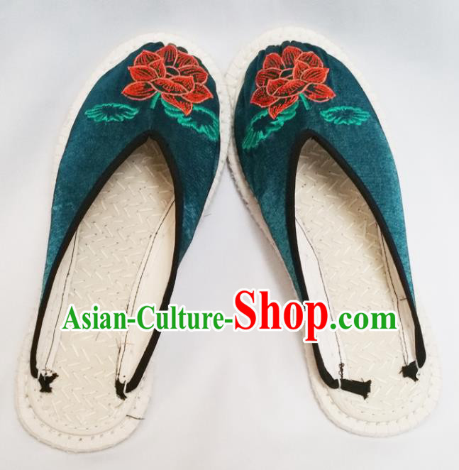 Chinese Ancient Princess Slippers Traditional Embroidered Lotus Deep Green Satin Shoes Hanfu Shoes for Women