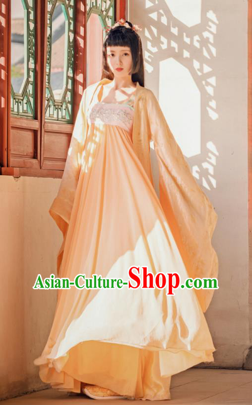 Chinese Traditional Ancient Court Princess Hanfu Dress Tang Dynasty Nobility Lady Historical Costume and Headpiece for Women