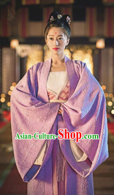 Traditional Chinese Ancient Princess Hanfu Dress Tang Dynasty Palace Historical Costume and Headpiece for Women