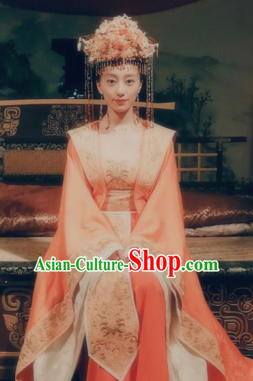 Traditional Chinese Ancient Wedding Hanfu Dress Tang Dynasty Palace Princess Historical Costume and Headpiece for Women