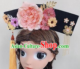 Chinese Handmade Qing Dynasty Princess Hair Accessories Ancient Palace Pink Peony Hair Clasp for Women