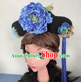 Chinese Handmade Qing Dynasty Blue Peony Hair Accessories Ancient Palace Princess Hair Clasp for Women