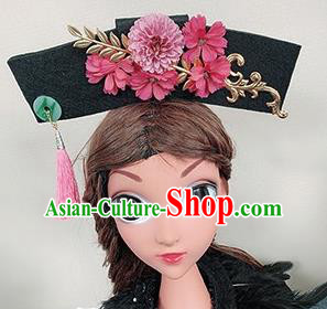 Chinese Handmade Qing Dynasty Pink Flowers Hair Accessories Ancient Palace Princess Hair Clasp for Women