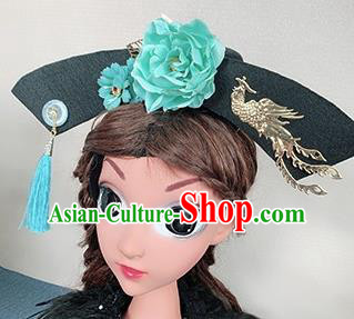 Traditional Chinese Qing Dynasty Princess Hair Accessories Handmade Ancient Green Peony Hair Clasp for Women