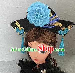 Traditional Chinese Ancient Palace Blue Peony Hair Clasp Qing Dynasty Princess Hair Accessories for Women