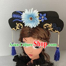 Traditional Chinese Ancient Palace Blue Chrysanthemum Hair Clasp Qing Dynasty Princess Hair Accessories for Women
