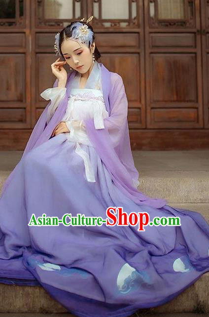 Chinese Ancient Fairy Maiden Purple Hanfu Dress Traditional Tang Dynasty Imperial Consort Historical Costume for Women