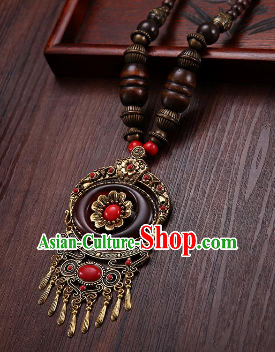 Handmade Chinese Zang Nationality Wine Red Necklace Traditional Ethnic Necklet Accessories for Women