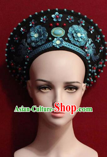 Chinese Ancient Manchu Empress Headwear Hat Traditional Qing Dynasty Queen Hair Accessories for Women