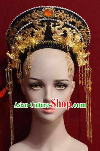 Chinese Ancient Manchu Empress Headwear Golden Phoenix Tassel Hat Traditional Qing Dynasty Queen Hair Accessories for Women