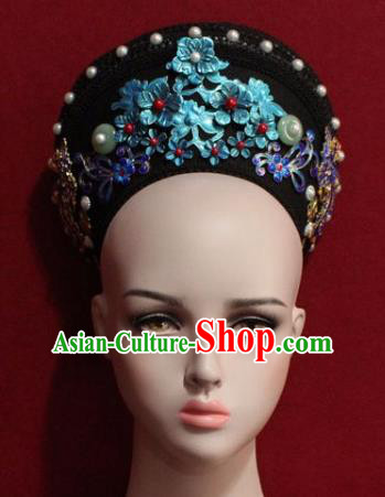 Chinese Ancient Manchu Empress Headwear Blueing Flowers Hat Traditional Qing Dynasty Queen Hair Accessories for Women