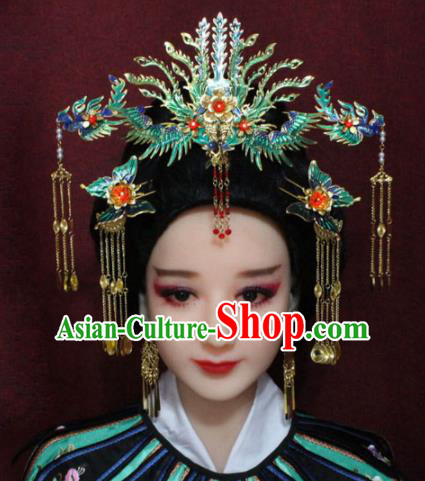 Chinese Ancient Cloisonne Phoenix Coronet Headwear Traditional Tang Dynasty Queen Hairpins Hair Accessories for Women