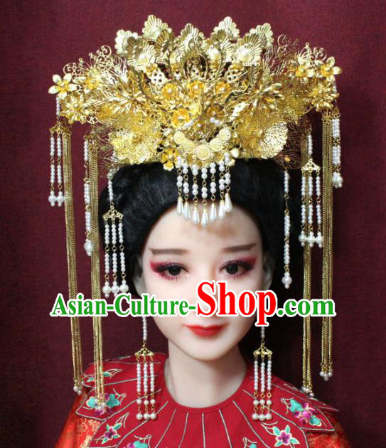 Chinese Ancient Queen Tassel Phoenix Coronet Hairpins Traditional Palace Wedding Hair Accessories for Women