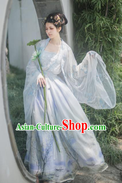 Chinese Tang Dynasty Imperial Consort Hanfu Dress Ancient Peri Princess Historical Costume for Women