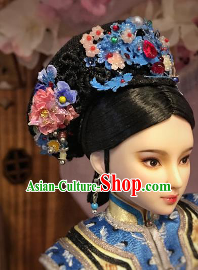 Chinese Ancient Imperial Consort Hat Headwear Traditional Qing Dynasty Palace Manchu Hair Accessories for Women