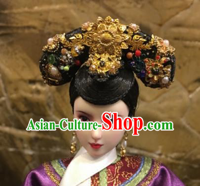 Chinese Ancient Manchu Imperial Consort Headwear Traditional Qing Dynasty Palace Queen Hair Accessories for Women