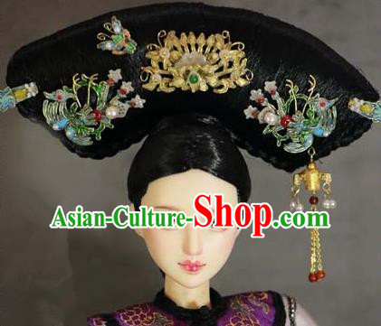 Chinese Ancient Palace Manchu Imperial Consort Cloisonne Phoenix Headwear Traditional Qing Dynasty Queen Hair Accessories for Women