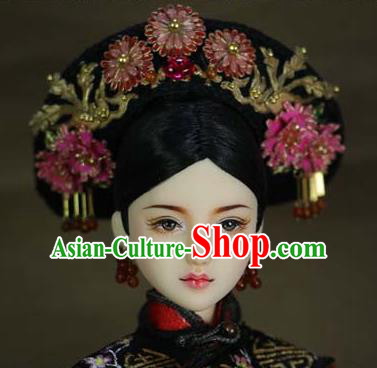 Chinese Ancient Palace Imperial Consort Hair Ornament Headwear Traditional Qing Dynasty Manchu Queen Hair Accessories for Women