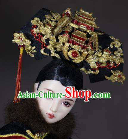 Chinese Ancient Empress Palace Headwear Traditional Qing Dynasty Manchu Queen Hair Accessories for Women