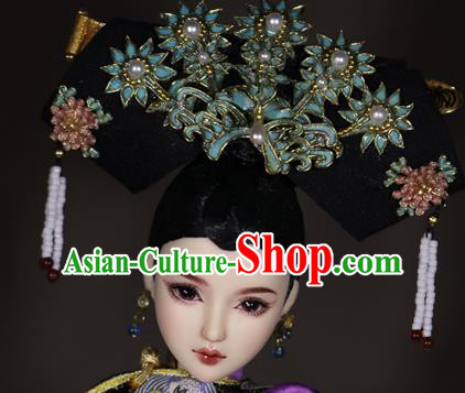 Chinese Ancient Palace Manchu Headwear Traditional Qing Dynasty Imperial Consort Hair Accessories for Women