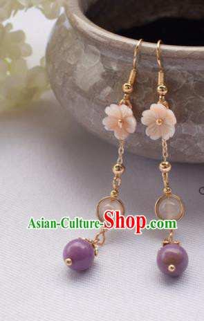 Chinese Ancient Princess Ear Accessories Traditional Hanfu Purple Bead Tassel Earrings for Women