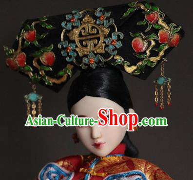 Chinese Ancient Palace Manchu Lady Headwear Traditional Qing Dynasty Imperial Consort Hair Accessories for Women