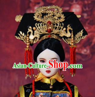 Chinese Ancient Palace Concubine Golden Phoenix Headwear Traditional Qing Dynasty Manchu Imperial Consort Hair Accessories for Women
