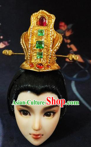 Handmade Chinese Ancient Han Dynasty Prince Hairdo Crown Traditional Swordsman Hair Accessories for Men