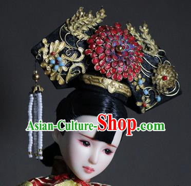 Chinese Ancient Palace Queen Red Peony Phoenix Headwear Traditional Qing Dynasty Manchu Empress Hair Accessories for Women