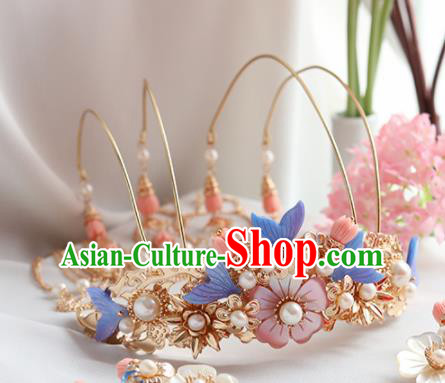 Chinese Ancient Princess Tassel Shell Phoenix Coronet Hairpins Traditional Hanfu Hair Accessories for Women