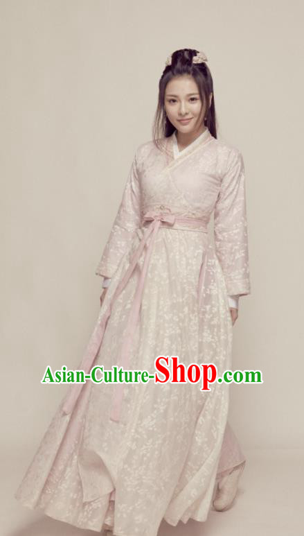 Chinese Northern and Southern Dynasties Swordswoman Pink Hanfu Dress Ancient Nobility Lady Embroidered Historical Costume for Women