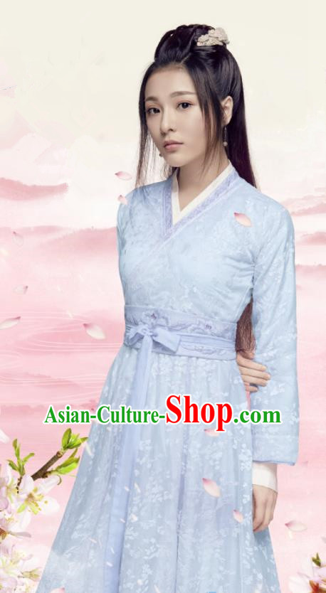 Traditional Chinese Northern and Southern Dynasties Blue Hanfu Dress Ancient Swordswoman Embroidered Historical Costume for Women