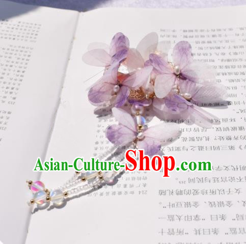 Chinese Ancient Princess Palace Purple Butterfly Hair Claw Hairpins Traditional Handmade Hanfu Hair Accessories for Women