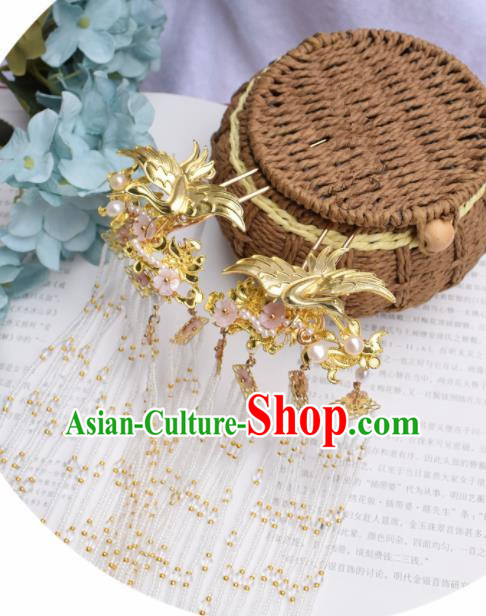 Chinese Ancient Princess Golden Crane Hair Clip Palace Hairpins Traditional Handmade Hanfu Hair Accessories for Women