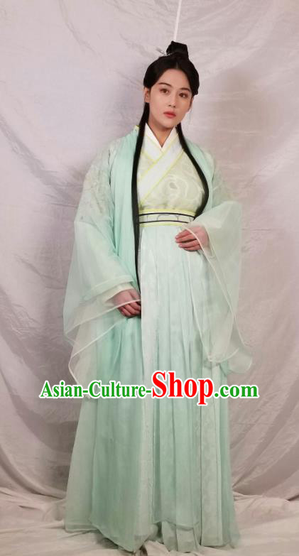 Chinese Ancient Swordswoman Green Hanfu Dress Traditional Northern and Southern Dynasties Nobility Lady Historical Costume for Women