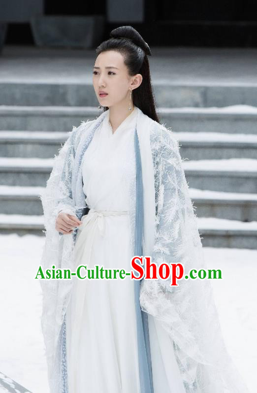 Madam White Snake Chinese Ancient Swordswoman Hanfu Dress Jin Dynasty Taoist Nun Historical Costume for Women