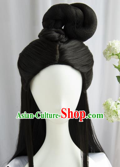 Handmade Chinese Traditional Hanfu Wigs Sheath Ancient Peri Crown Princess Chignon for Women